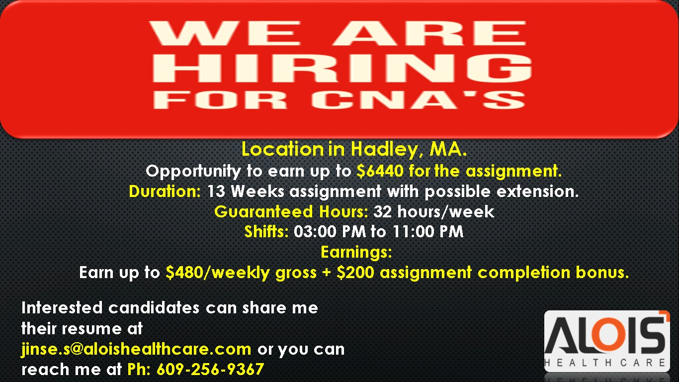 Certified Nursing Assistant – CNA - Hadley | Health Jobs